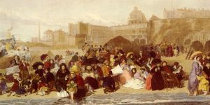 Antique Oil Painting - Life At The Seaside Ramsgate Sands